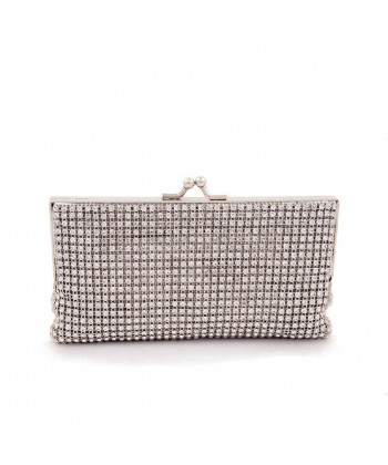 Bolsa de embrague, Aliado de tela de Plata con diamantes de imitación