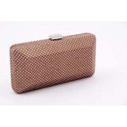 Borsa clutch, Polly Cioccolato, in raso con strass