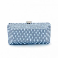 Borsa clutch, Polly Cielo, in raso con strass