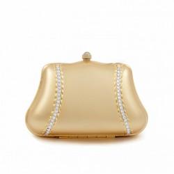 Borsa clutch, Cora Oro, in metallo satinato