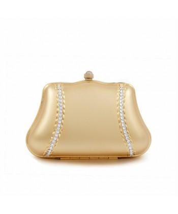 Bolsa de embrague, Cora, de Oro, de metal cepillado