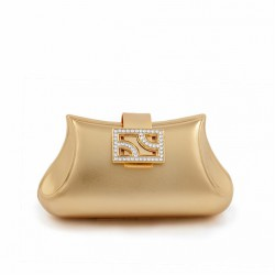 Bag clutch, Kayla, Gold, brushed metal