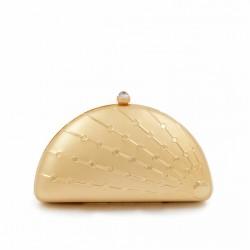 Borsa clutch, Tricia Oro, in metallo satinato