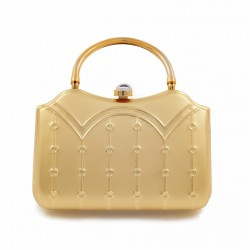 Bag clutch, Misty Gold, brushed metal