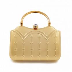 Bolsa de embrague, Misty de Oro, de metal cepillado