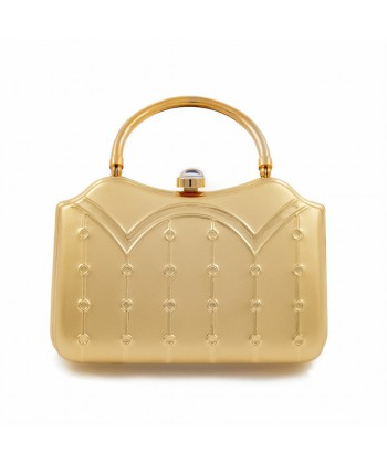 Borsa clutch, Misty Oro, in metallo satinato