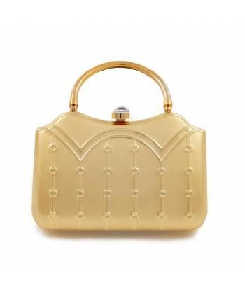 Clutch-tasche, Misty Gold, satiniertes metall
