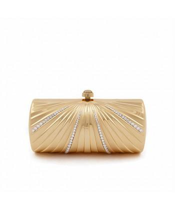 Bolsa de embreagem, Krystal Ouro, metal cepillado