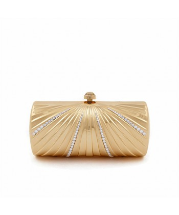Clutch-tasche, Krystal Gold, satiniertes metall