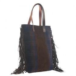 Bolso de mano, Marilu Azul, de tela, hecho en Italia