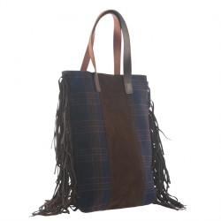 Hand bag, Marilu Blue, fabric, made in Italy