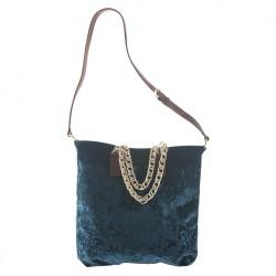 Bolso de mano, Florinda terciopelo Azul, hecho en Italia