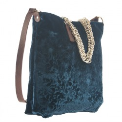 Handtasche, Florinda Blau, samt, made in Italy