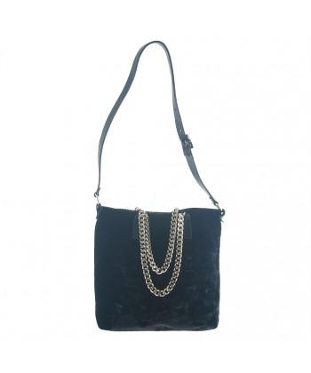 Hand bag, Lucia Black, velvet, made in Italy