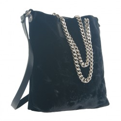 Handtasche, Lucia Schwarz, samt, made in Italy