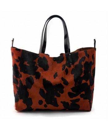 Handtasche, Ashley, Rot, haut und fell cavallino, made in Italy