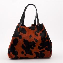 Bolsa en la mano, Ashley Rojo, en la piel y el cabello, cavallino rampante, hecho en Italia