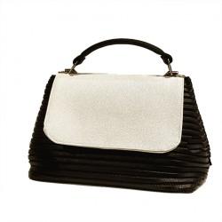 Handtasche, Dublin weiss und Schwarz, sympatex