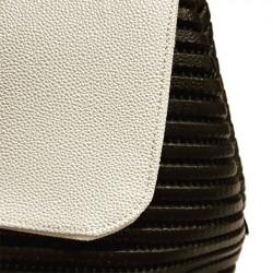 Hand bag, Dublin, White and Black, in sympatex