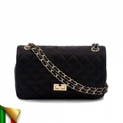 Man saco, Ingrid Negro, coiro, feitos en Italia