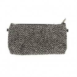 Borsa clutch, Concetta Nero Spina di Pesce, in Sympatex