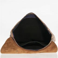 Bolsa mochila, Brunilda Barro, cuero y tela, hecho en Italia