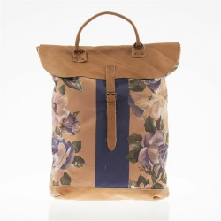 Bag backpack, Brunhilda Mud, leather and fabric, made in Italy