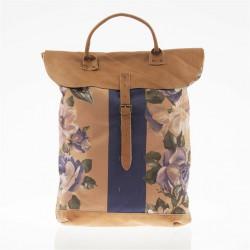 Sac de sac à dos, Brunehilde de la Boue, de cuir et de tissu, fabriqué en Italie