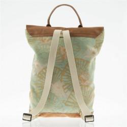 Saco mochila, Brunhilda Verde, coiro e tecido, feita en Italia