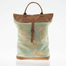 Tasche, rucksack, Brünnhilde Grün, leder und stoff, made in Italy