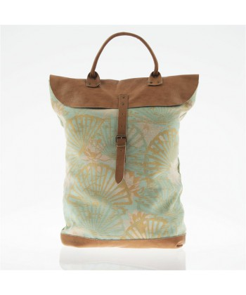 Bag backpack, Brunhilda Green, leather and fabric, made in Italy
