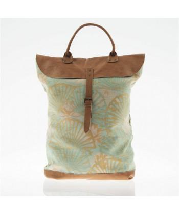 Bolsa mochila, Brunilda Verde, cuero y tela, hecho en Italia