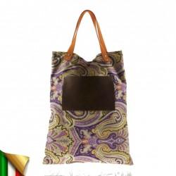 Bolso de mano, Bess Flores, tela, hecho en Italia