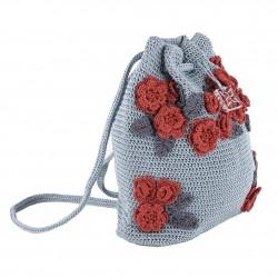 Bolso de hombro, Tiziana Gris, de algodón