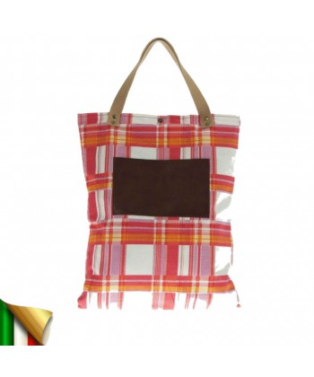 Hand bag, Betta Plaid, fabric, made in Italy