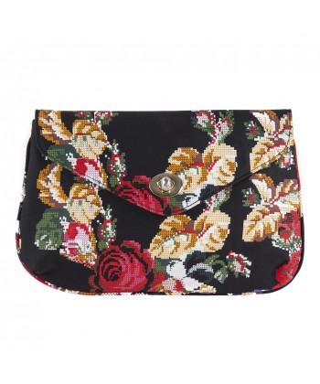 Sac d'embrayage, Sandra Noir avec des Fleurs, tissu