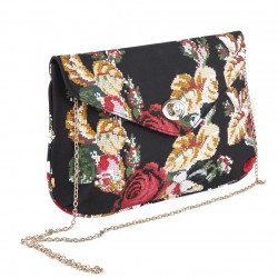 Bag clutch, Sandra Black with Flowers, fabric