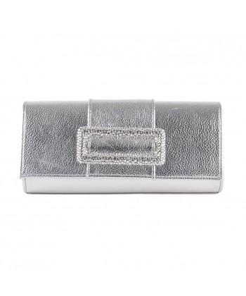 Bag Clutch, Salua Silver, leather