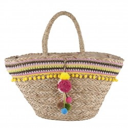 Handtasche, Fedora, Gelb, stroh