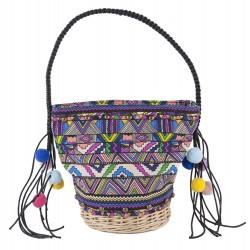 Hand bag, Corinna Purple, straw