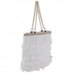 Hand bag, Cosima, White, raffia