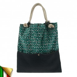 Hand bag, Dark Green, fabric and sponge, made in Italy