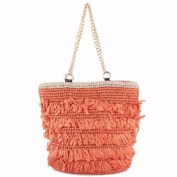 Hand bag, Cosima Red, raffia