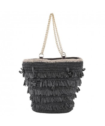 Hand bag, Cosima Black raffia