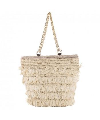 Hand bag, Cosima Beige, raffia