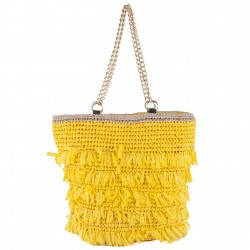 Hand bag, Cosima Yellow, raffia