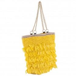 Handtasche, Cosima Gelb, bast -