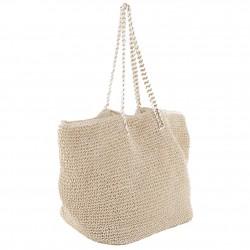 Hand bag, Clelia Beige, raffia