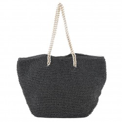 Hand bag, Clelia Black raffia