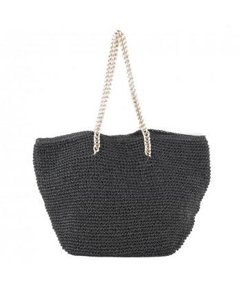 Hand bag, Clelia Black raffia